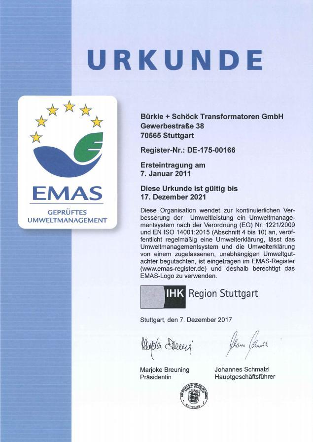 Zertifikate - B + S Transformatoren