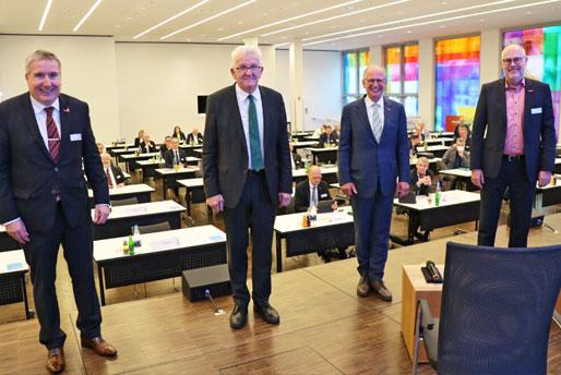 Mitgliederversammlung des Baden-Württembergischen Handwerkstags mit Ministerpräsident Winfried Kretschmann und u. a. BWHT-Vizepräsident Thomas Bürkle